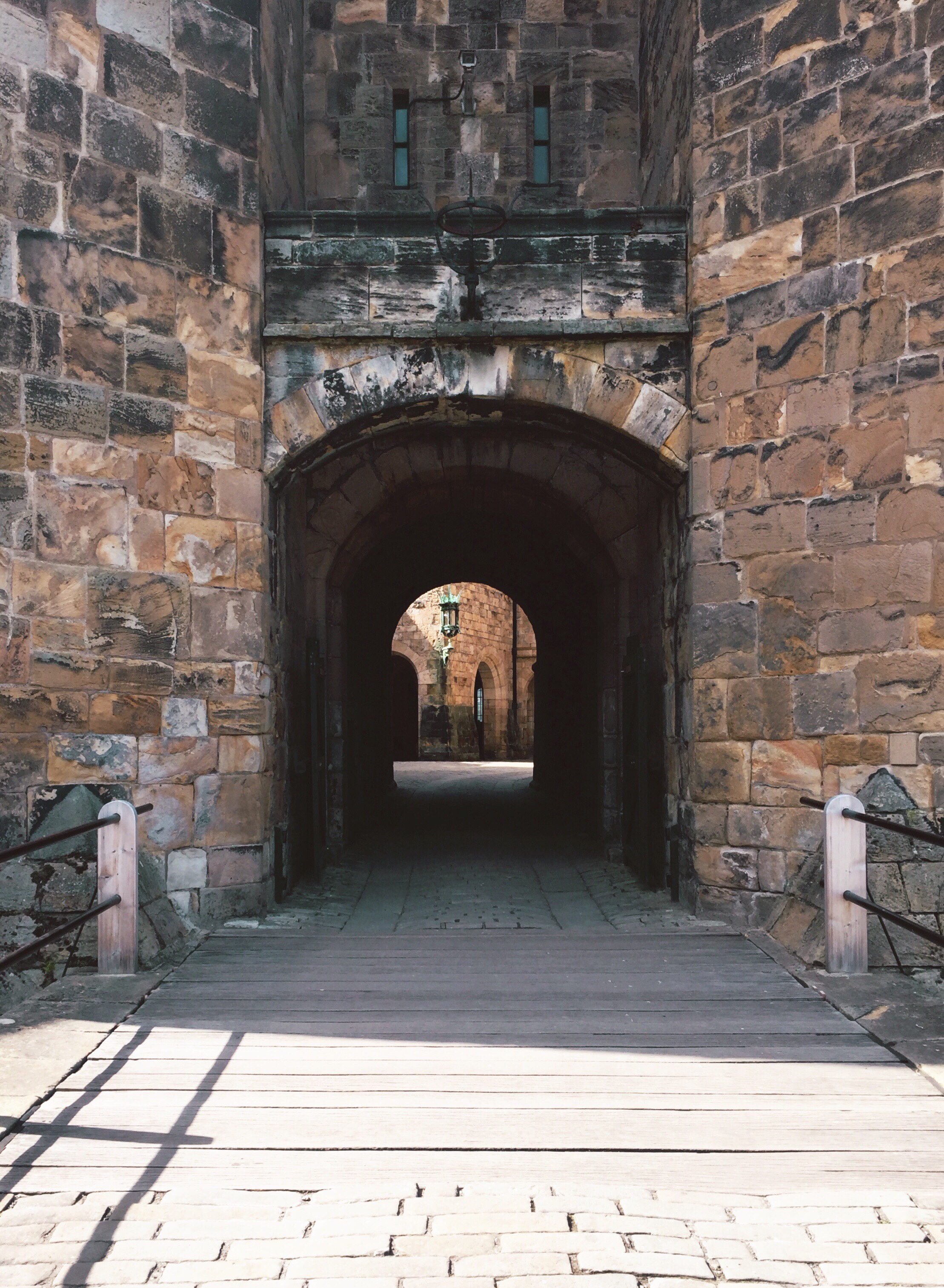 A doorway of a historic castle in Northumberland England